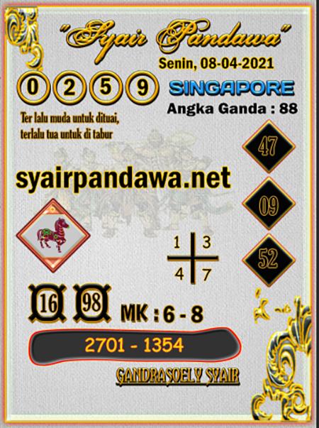 Syair Pandawa SGP Kamis 08 April 2021