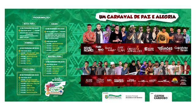 atrações programação carnafolia carnaval porto nacional