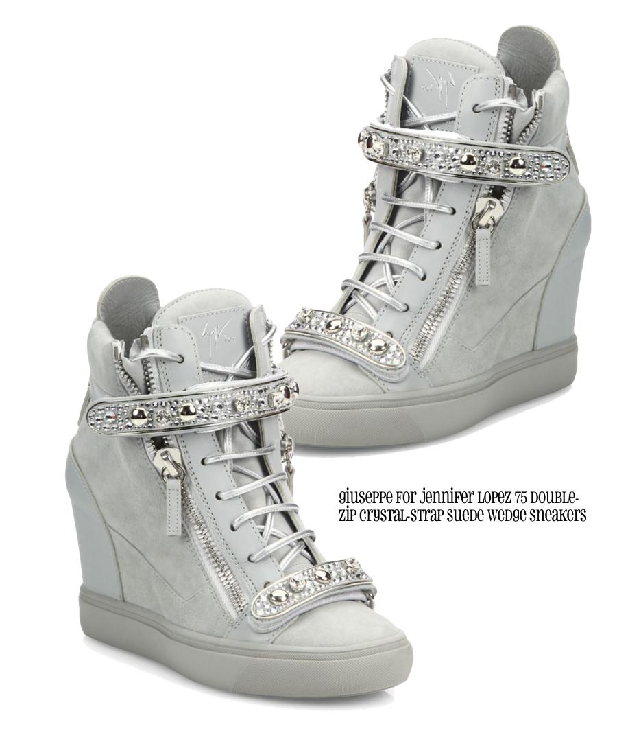 Giuseppe for Jennifer Lopez 75 Double-Zip Crystal-Strap Suede Wedge Sneakers