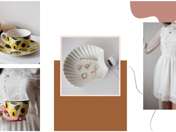 317. Wyprzedaż H&M - letnie ubrania, filiżanka ze słonecznikami i miseczka w kształcie muszelki