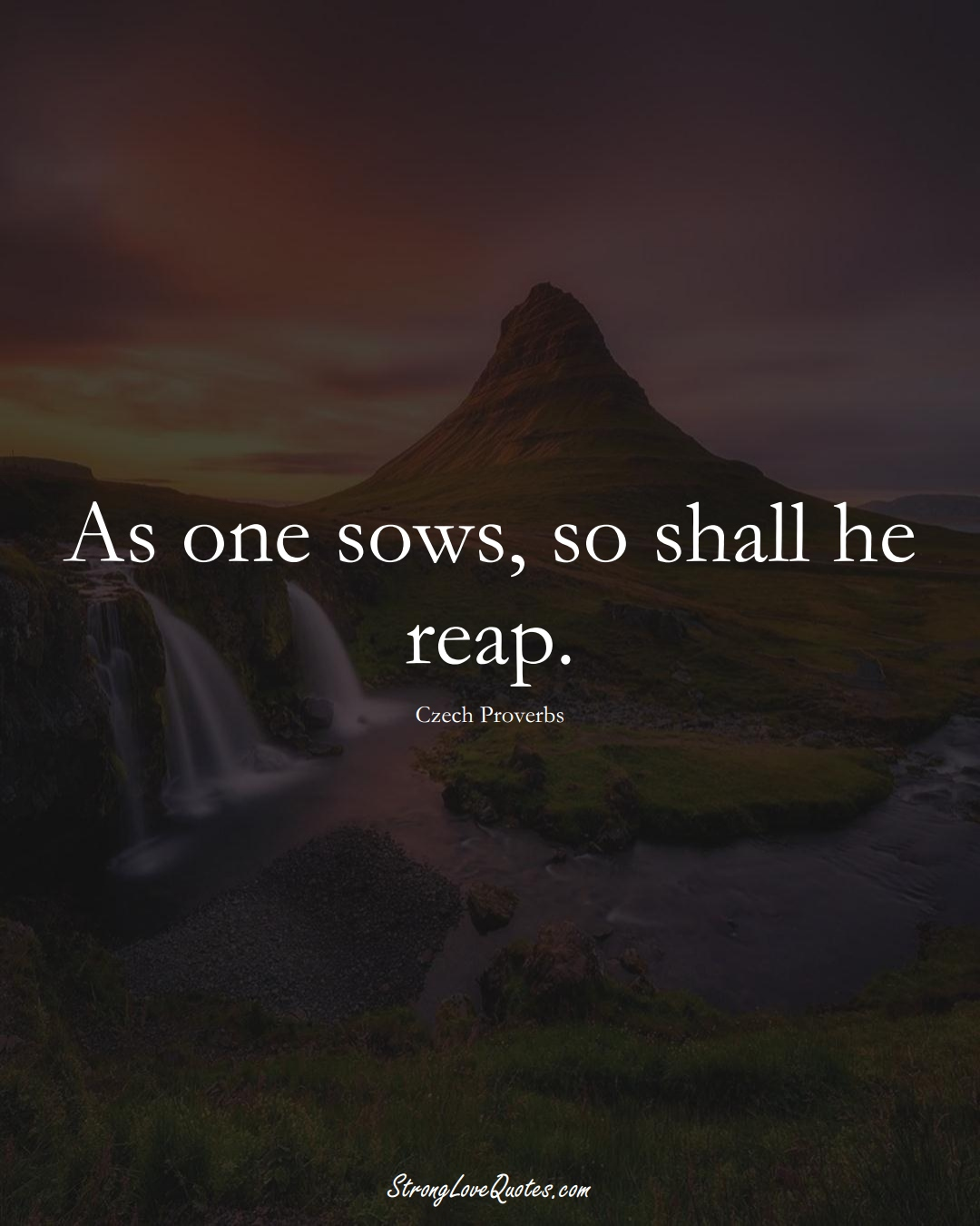 As one sows, so shall he reap. (Czech Sayings);  #EuropeanSayings