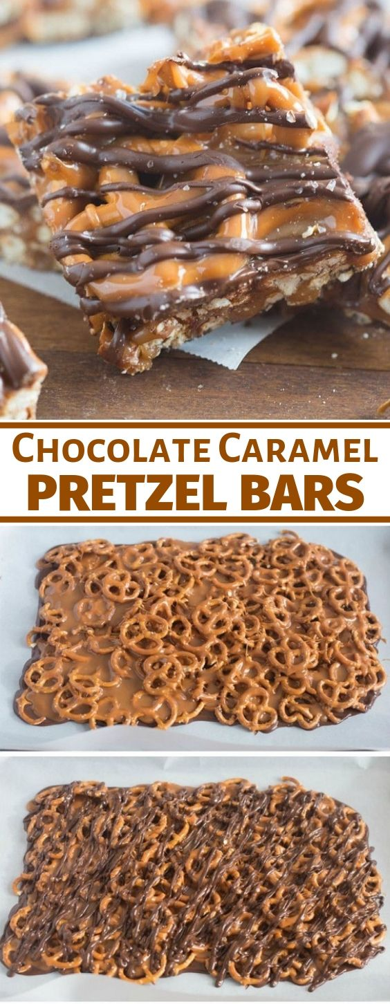 Salted Chocolate and Caramel Pretzel Bars #dessert #chocolate