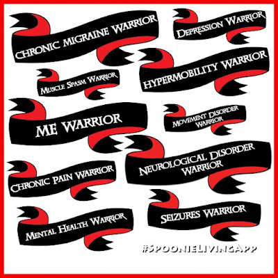 White square with a thin red border different black banners with text on each one naming different illnesses followed by the word warrior
