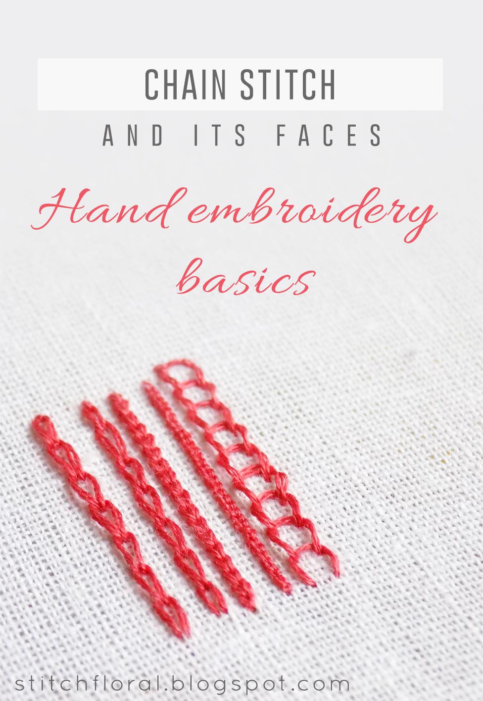 Chain Stitch Embroidery : chain, stitch, embroidery, Chain, Stitch, Faces, Reverse, Broad, Stitch), Floral