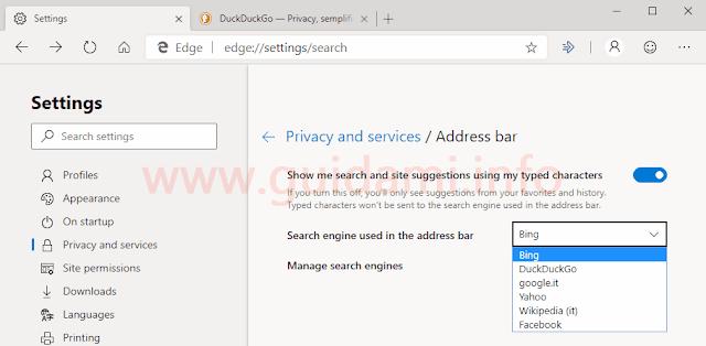 Microsoft Edge Chromium impostazioni motore ricerca