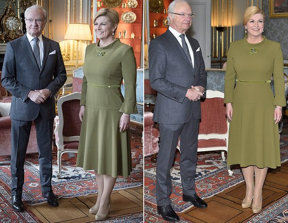 King Carl Gustaf received today Croatian President Kolinda Grabar-Kitarovic at the Royal Palace in Stockholm