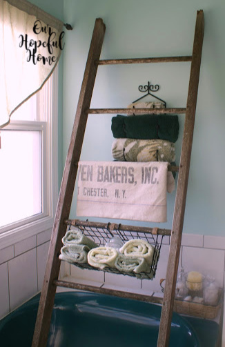 rustic ladder bathroom storage wire basket towel