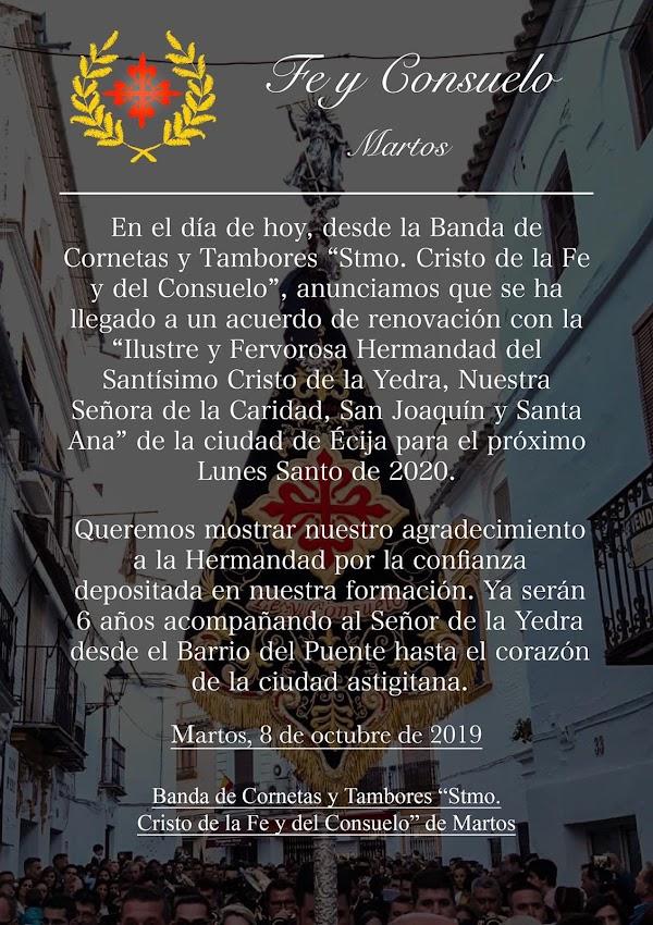 La Banda del Santísimo Cristo de la Fe y del Consuelo de la localidad jiennense de Martos acompañará un año más al Señor de la Yedra de Ecija.