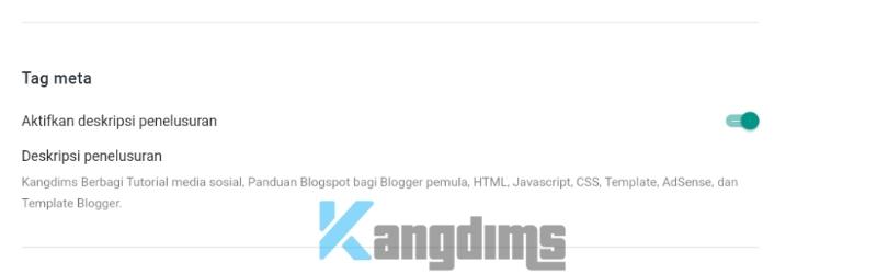 Meta tag deskripsi penelusuran blogger