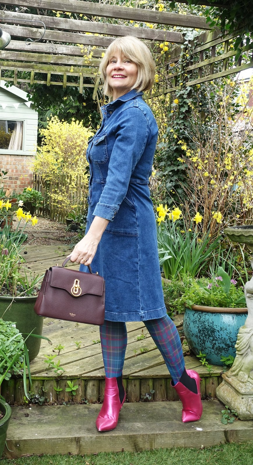 Is This Mutton over-50s blog interprets the challenge Denim Directions with a knee length denim dress and tartan tights