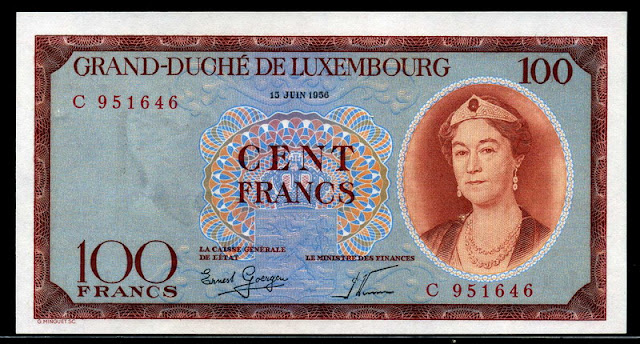 Luxembourg Currency money 100 Francs banknote