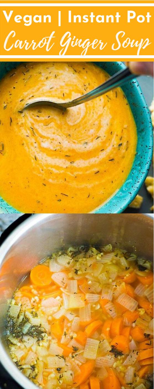 Vegan Carrot Ginger Soup #soup #dinner #vegan #instatpot #healthy