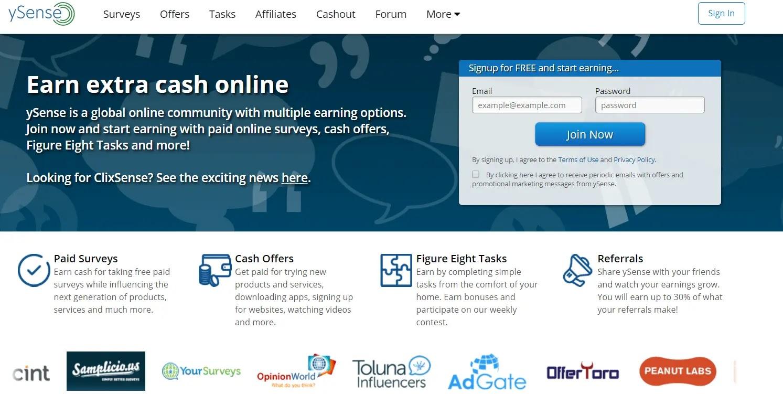 ySense - top paying ptc site