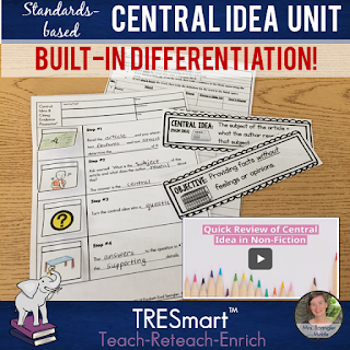 Standards-based Middle School ELA Central Idea Mini-Unit with BUILT-IN differentiation for content, process, and product using the research-based teach-reteach-enrich format!  #lessonplans #teaching #commoncorereading #languagearts #centralidea