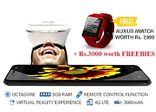 AUXUS STUNNER – Virtual Reality Smartphone – Remote Function with FREE Auxus iWatch worth Rs.7990 + FREEBIES worth Rs.3000