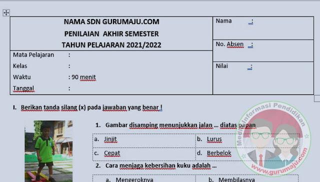 Soal UAS / PAS PJOK Kelas 1 Semester 1 K13