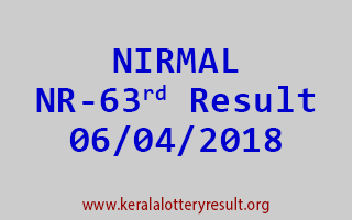 NIRMAL Lottery NR 63 Results 06-04-2018