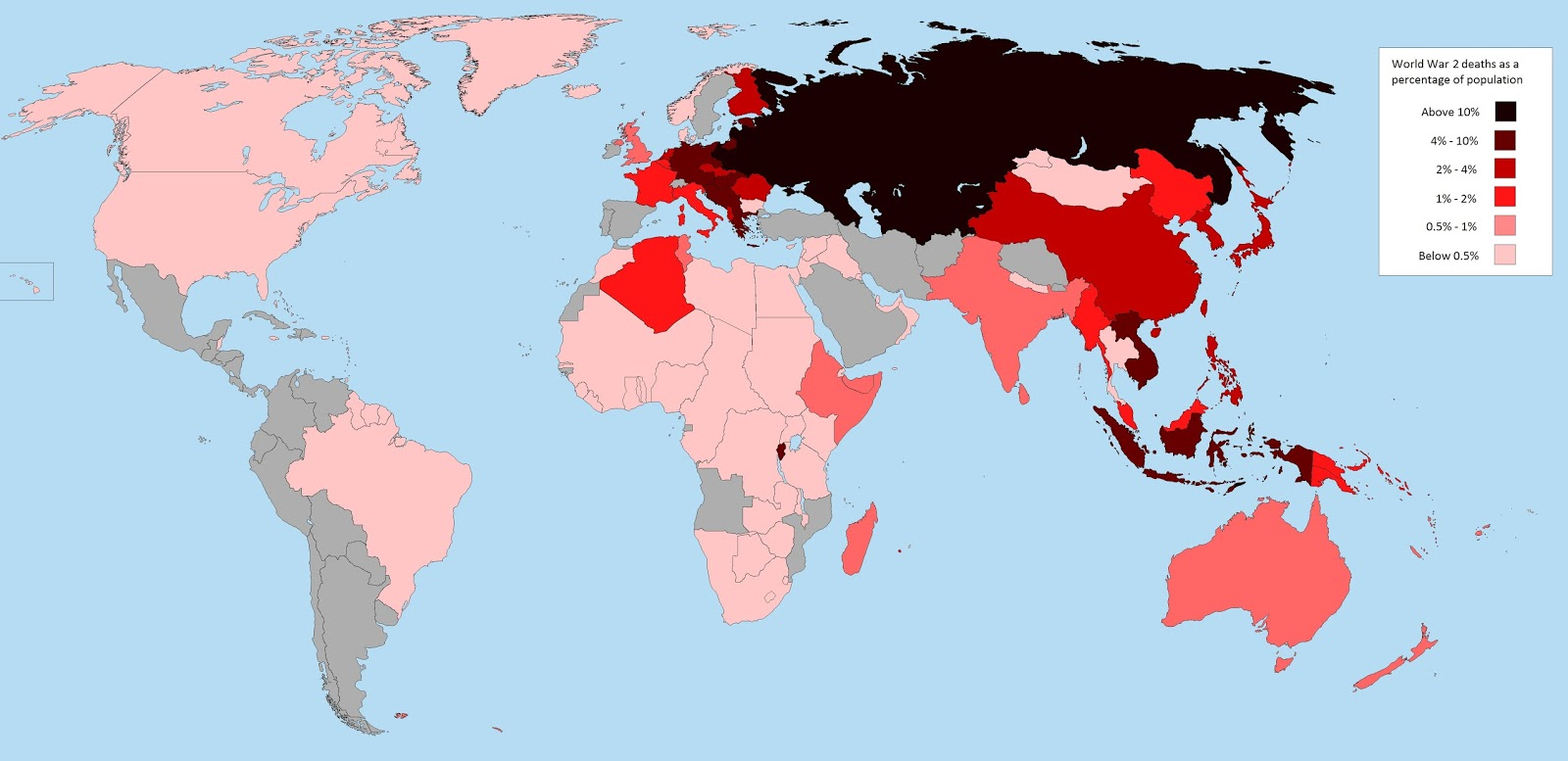 World War 2 deaths as a percentage of each nation's population