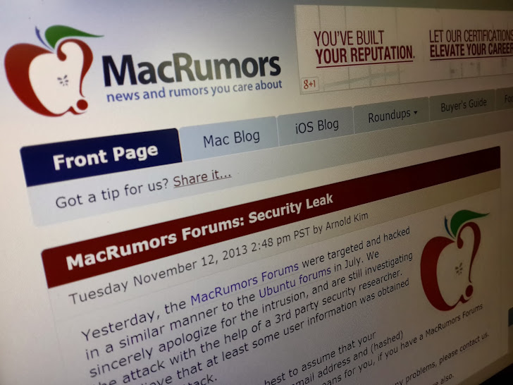 MacRumors forum hacked; more than 860,000 accounts compromised