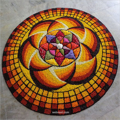 Beautiful Onam Flower Rangoli Design Easy