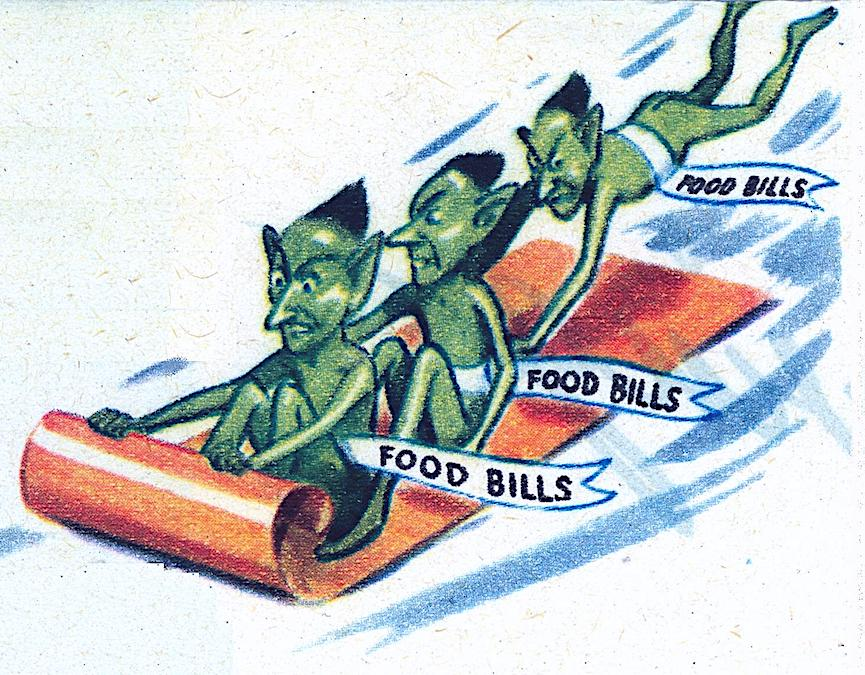"a color cartoon illustration of ""food bills"" from a print advertisement. 1940s?"