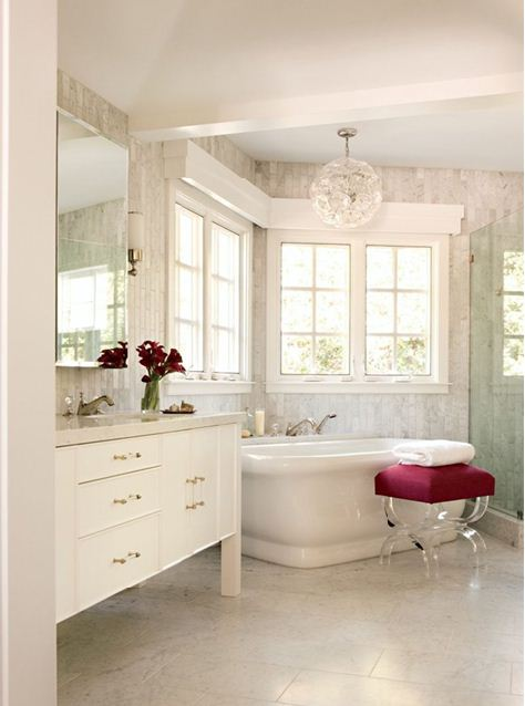 pop of pink in bathroom white design