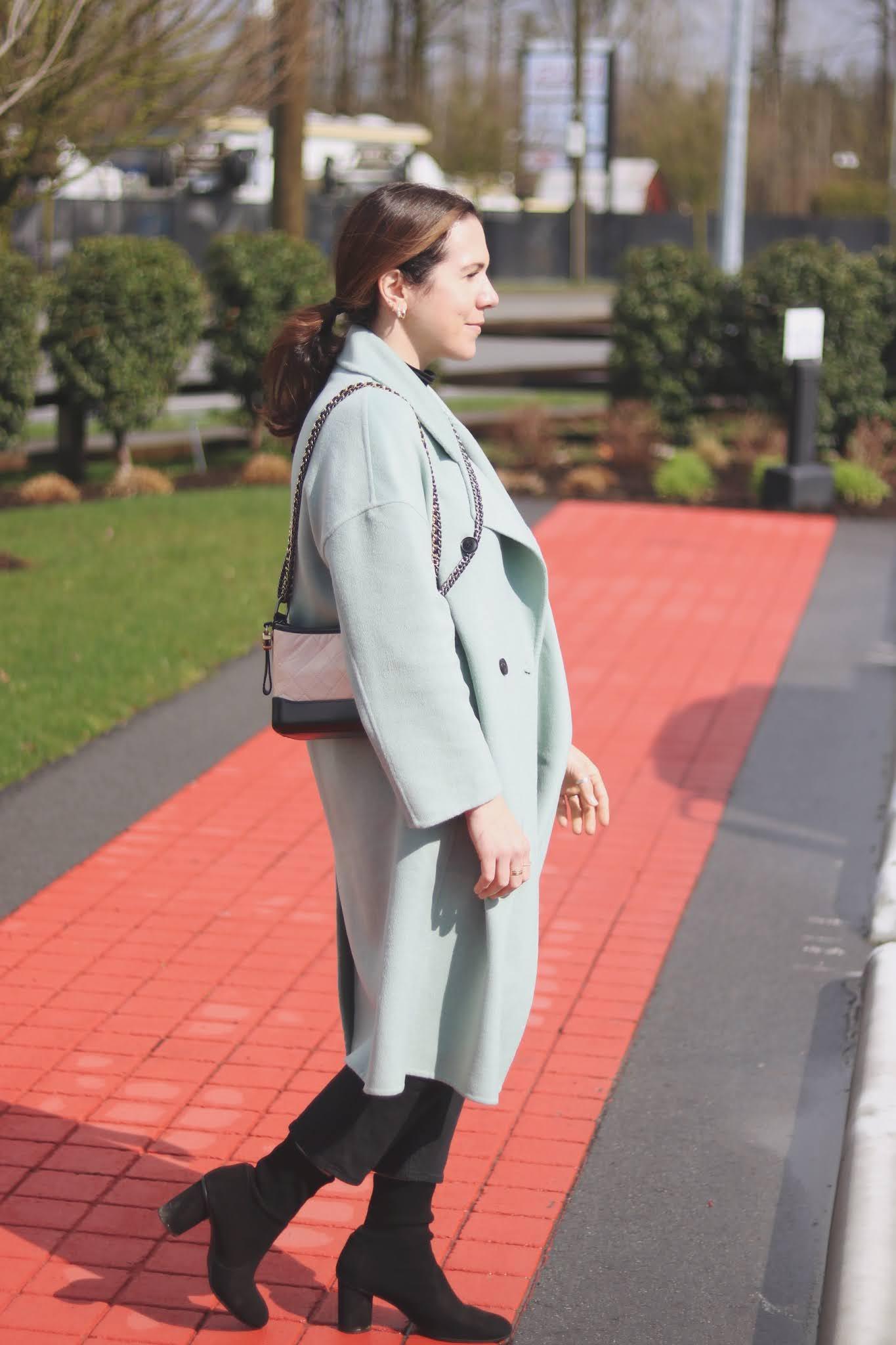 sage green wool mango coat spring outit vancouver blogger chanel gabrielel bag