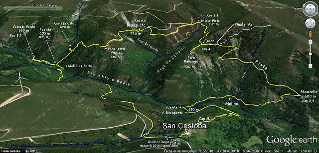 Mapa ortográfico de La Ruta del Silencio - Villanueva de Oscos - Asturias