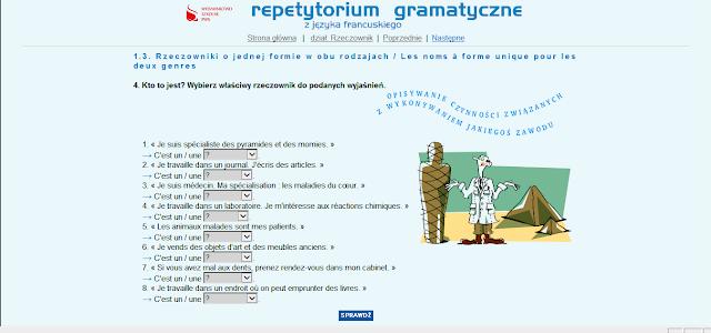 """Recenzje #2 - """"Repetytorium gramatyczne z języka francuskiego"""" - przykładowy ekran ćwiczeń 2 - Francuski przy kawie"""
