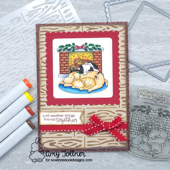 Cold Weather Brings Friends Together by Amy features Fireside Friends, Hardwood, Frames Squared, and Frames & Flags by Newton's Nook Designs; #newtonsnook, #cardmaking,