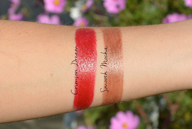 Avon True Colour Supreme Nourishing Lipsticks Crimson Dream and Smooth Mocha Swatches