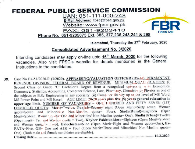 Federal Board Of Revenue FBR Jobs 2020 FPSC Govt JOBS 2020