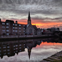 Dublin images: Sunrise over the River Dodder in Ringsend