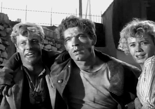 Tony Wright, Stephen Boyd and Anna Gaylor in Seven Thunders, 1957