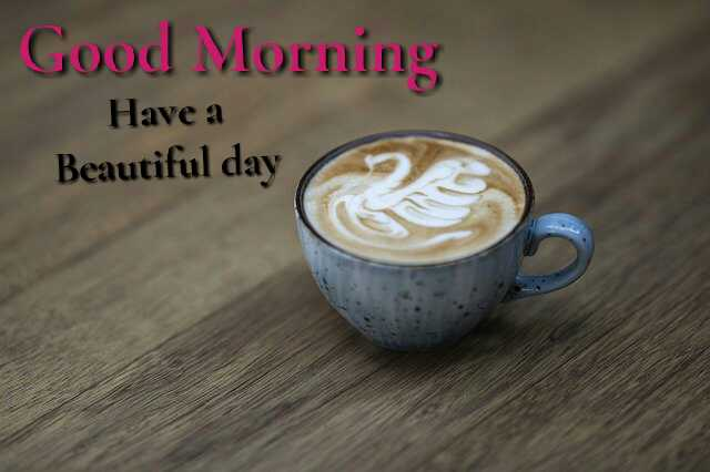 Beautiful good morning photo image with cup of coffee