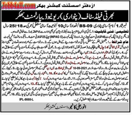 AC Office Bhakkar Job in Pak