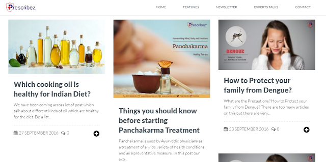 Health tips feature on the website