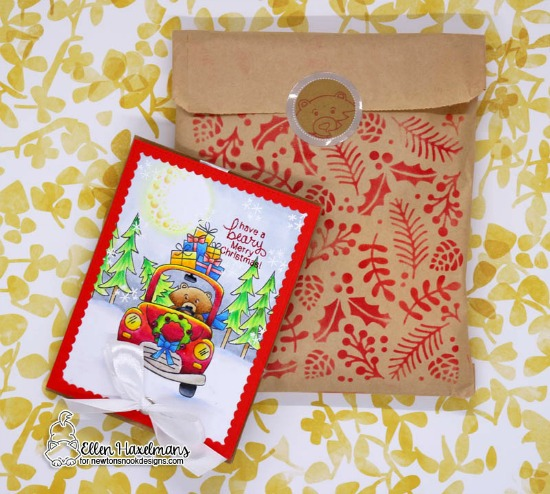 A Beary Merry Christmas Card by Ellen Haxelmans | Winston's Home for Christmas and Fox Hollow Stamp Sets and Holiday Foliage Stencil by Newton's Nook Designs #newtonsnook