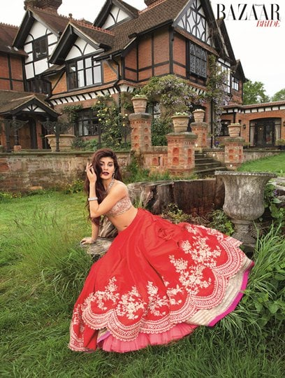 Actress Jacqueline Fernandez wearing Anushree Reddy For Harper's Bazaar Bride - June-July cover