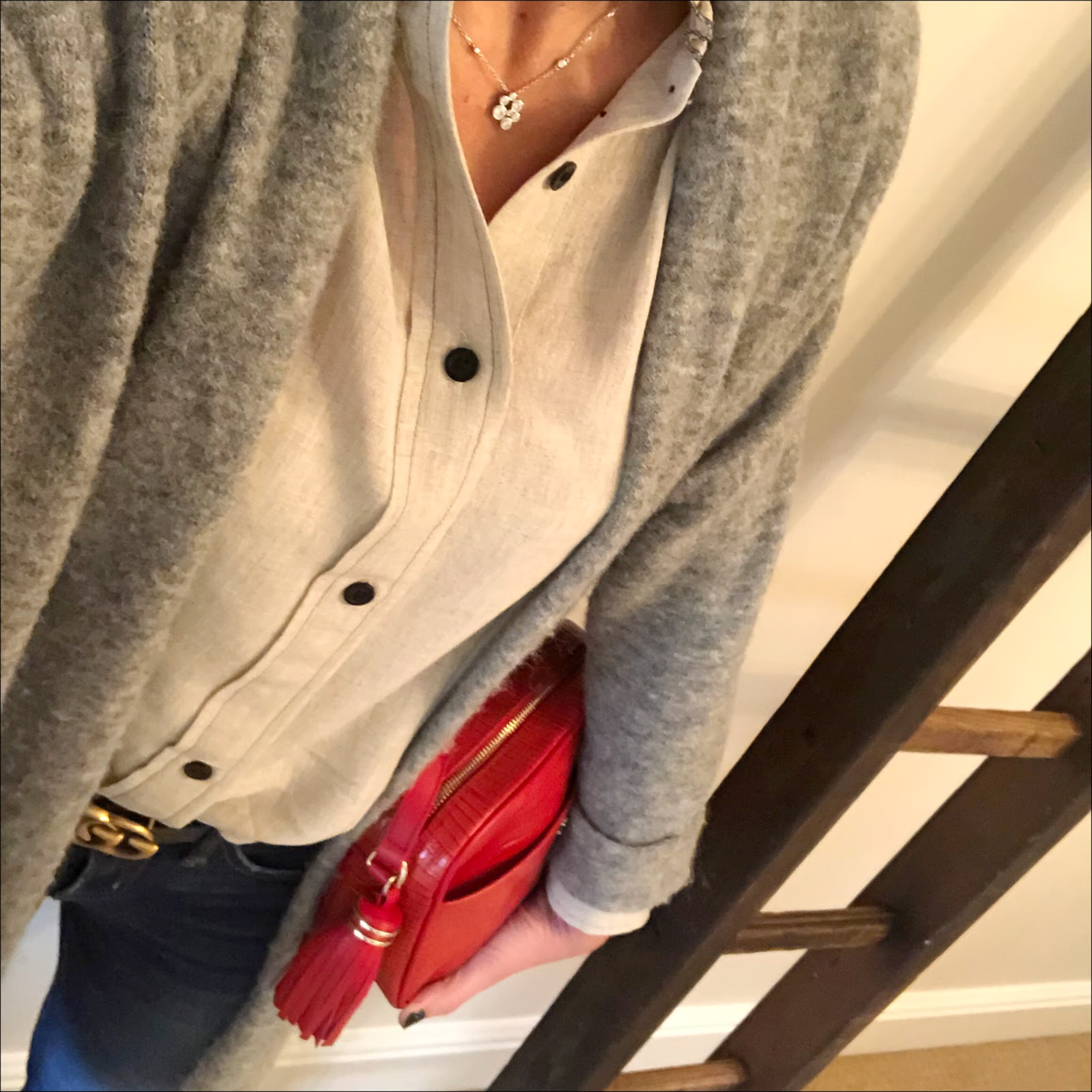 my midlife fashion, isabel marant etoile ruffle blouse, american vintage oversized ruffle blouse, gucci double gg 2 cm leather logo belt, uterque mock croc cross body bag, j crew 8 inch toothpick skinny jeans, j crew pointed tassel flat ballet pumps