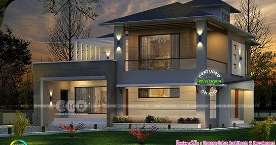 Western style home architecture in kerala kerala home for Western style homes pictures