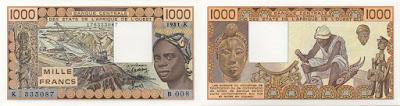 Billete de 1000 francos de África de Oeste