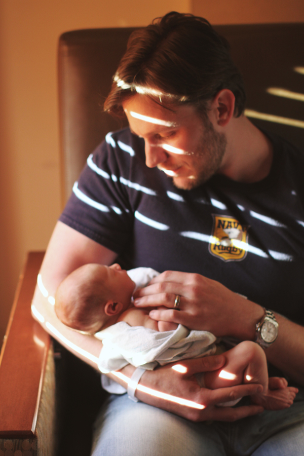 Dad and baby in the hospital