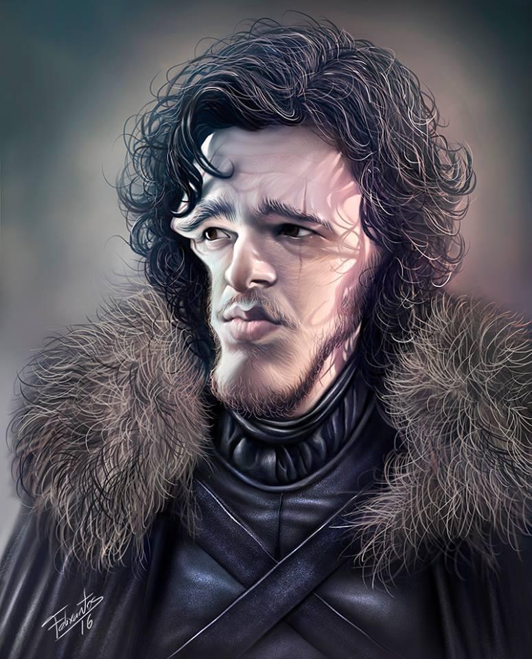 Caricatura de Jon Snow por Felixantos