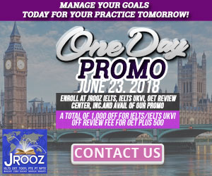 JROOZ IELTS/UKVI/OET One Day Promo  Join us on June 23, 2018   Free IELTS / IELTS UKVI / OET Orientation  IELTS: – 500 Off on Review Fee and Exam Fee A total of 1000 Off for IELTS/IELTS UKVI  OET: – 500 Off on Review Fee for OET plus – Receive free assistance in exam registration and – 50% Reimbursement Fee for OET exam coming from our Partner Recruitment Agencies (OFFER IS EXCLUSIVE TO JROOZ STUDENTS)