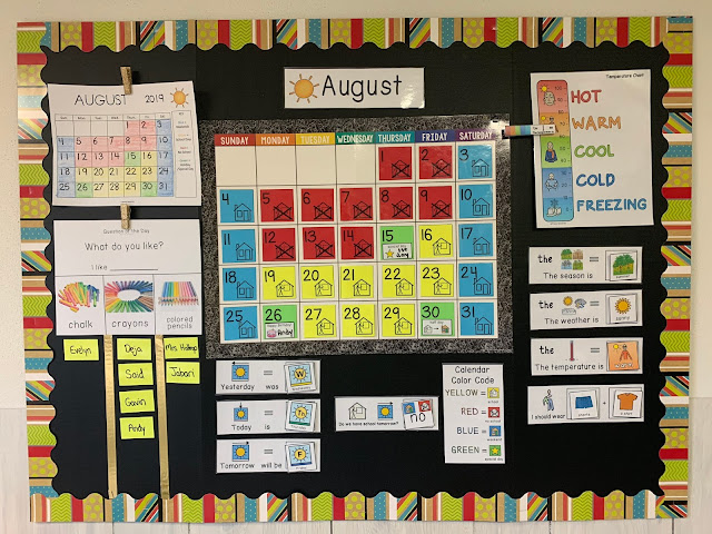 Color coded calendars for special education classrooms