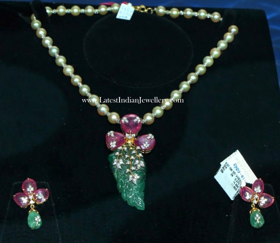 Pearl Necklace Ruby Pendant Set