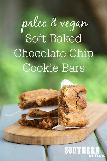 Paleo Vegan Soft Baked Chocolate Chip Cookie Bars Recipe – gluten free, grain free, healthy, vegan, soy free, sugar free, egg free, dairy free, paleo, clean eating recipe