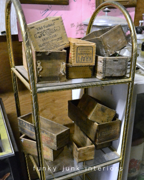 old crates and cheese boxes / Junkin' day at Granny and Grumpa's Antiques in Abbotsford, BC via FunkyJunkInteriors.net