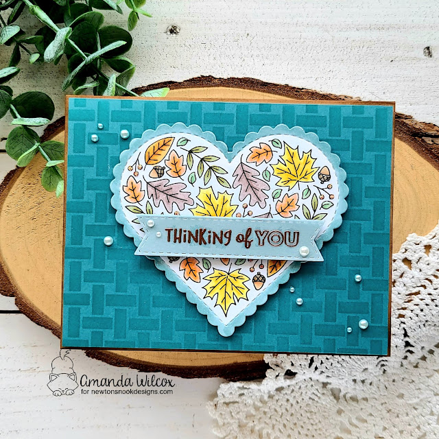 Thinking of You Fall Card by Amanda Wilcox | Heartfelt Fall Stamp Set, Heart Frames Die Set, Banner Trio Die Set and Basketweave Stencil by Newton's Nook Designs #newtonsnook